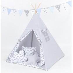 Stan pro děti teepee, týpí S VÝBAVOU - šedý / mráčky šedé na bílém