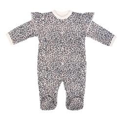 Mamatti Kojenecký bavlněný overálek Gepardík, bílá se vzorem