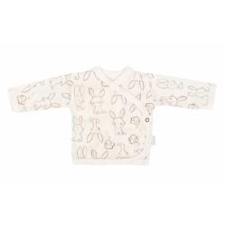 Mamatti Novorozenecká bavlněná košilka zapínání bokem, Králíček - krémová s potiskem