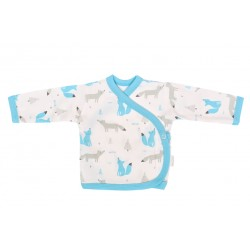 Mamatti Novorozenecká bavlněná košilka zapínání bokem, Liška - bílá s potiskem