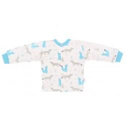 Mamatti Novozenecká bavlněná košilka, kabátek, Liška - bílá s potiskem
