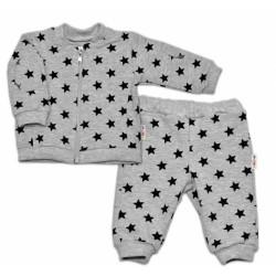 Bavlněná tepláková souprava Baby Nellys ® - Hvězdičky černé/šedá