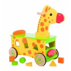 Edukační dřevěné jezdítko, odrážedlo - Žirafa