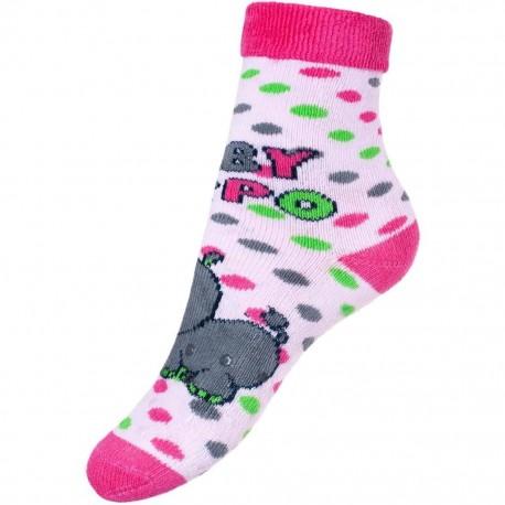 Dětské froté ponožky New Baby s ABS růžové hippo db8cd536f8