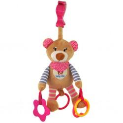 Plyšová hračka s vibrací Baby Mix medvídek růžový, Růžová