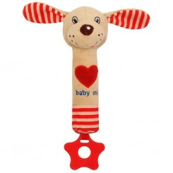 Dětská pískací plyšová hračka s kousátkem Baby Mix pejsek červená, Červená