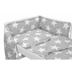 Mantinel s povlečením Baby Nellys ® - BIG STAR - šedé
