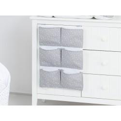 Kapsář 40 x 65 cm. Mini hvězdičky bílé na šedém podkladu