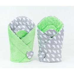 Oboustranná zavinovačka MINKY BABY - Mráčky bílé na šedém/ zelená