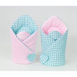 Oboustranná zavinovačka MINKY BABY - Mini hvězdičky tyrkysové/ růžová