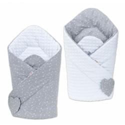 Oboustranná zavinovačka MINKY BABY - Mini hvězdičky bílé na šedém/ bílá