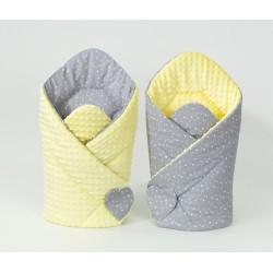Oboustranná zavinovačka MINKY BABY - Mini hvězdičky bílé na šedém/ žlutá