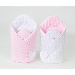 Oboustranná zavinovačka MINKY BABY - Mini hvězdičky šedé na bílém/ růžová