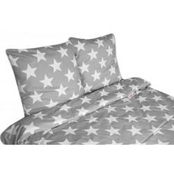 2 dílné bavlněné povlečení Baby Nellys ® 140 x 200 - Velké hvězdy - šedé