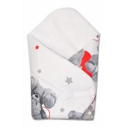 Novorozenecká zavinovačka MEDVÍDEK HVĚZDIČKA - šedá s červenou