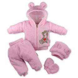 5-ti dílný chlupáčkový komplet TEDDY - růžový