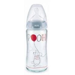 NUK Antikoliková skleněná lahvička FIRST CHOICE Medvídek Pooh 0-6 m - modrá