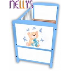 Dřevěná postýlka Nellys modrá s Míšou