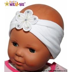 Čelenka Baby Nellys ® s květinkou - bílá