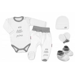 5-ti dílná soupravička do porodnice Princ - bílá