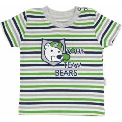 Bavlněné tričko Medvídek proužek - krátký rukáv - proužky