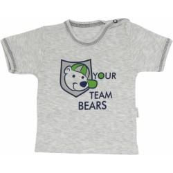 Bavlněné tričko Medvídek proužek - krátký rukáv