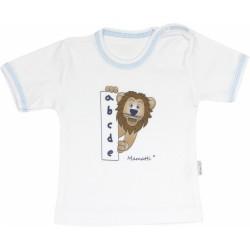 Bavlněné tričko Lev proužek - krátký rukáv