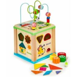 ECO TOYS Edukační dřevěná kostka s labyrintem a tabulkou Farma