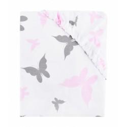Dětské bavlněné prostěradlo do postýlky - Motýlci - růžové