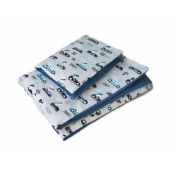 2-dílné povlečení Závody, bavlněné - modrá, šedá, B19