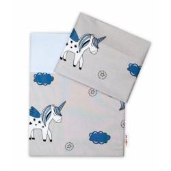 2-dílné bavlněné povlečení Jednorožec - šedá/modrá