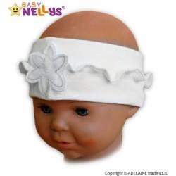 Čelenka Baby Nellys ® s květinkou a volánkem - bílá