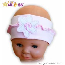 Čelenka Baby Nellys ® s květinkou a volánkem - sv. růžová
