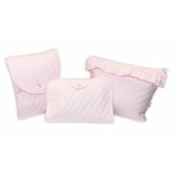 Sada příručních tašek, prošívaná - růžová, 3ks
