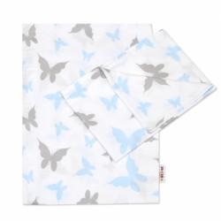 2-dílné bavlněné povlečení Motýlci - modré