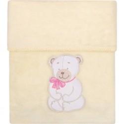 Dětská deka Womar 75x100 béžová medvídek s růžovou mašlí, Béžová