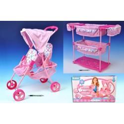 Sada pro panenky dvojčata kočárek 60(v)x30(š)x43(h)+ postýlka + židlička plast/kov Ha