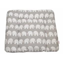 Přebalovací podložka 70x75cm, Sloni bílí v šedé
