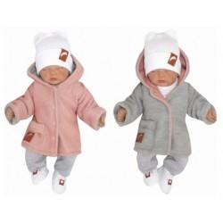 Z&Z Pletený, oboustranný svetřík, kabátek s kapucí, růžovo-šedý