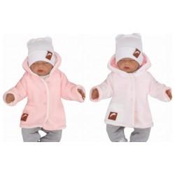 Z&Z Pletený, oboustranný svetřík, kabátek s kapucí, růžovo-bílý