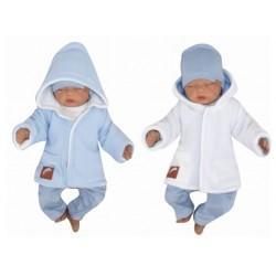 Z&Z Pletený, oboustranný svetřík, kabátek s kapucí, modro-bílý