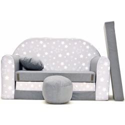 Rozkládací dětská pohovka Nellys ® 83R - Magic stars - bílošedé hvězdičky