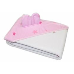 Dětská termoosuška s oušky Baby Stars s kapucí, 100 x 100 cm - bílá, růžové hvězdy