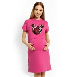 Těhotenská, kojící noční košile Minnie - růžová