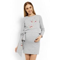 Elegantní těhotenské šaty, tunika s výšivkou a stuhou - sv. šedé (kojící)