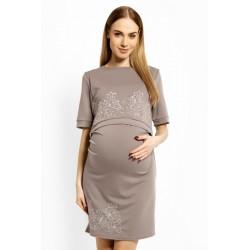 Elegantní těhotenské šaty, tunika s výšivkou, kr. rukáv - cappuccino (kojící)