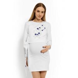 Elegantní těhotenské šaty, tunika s výšivkou a stuhou - bílé (kojící)