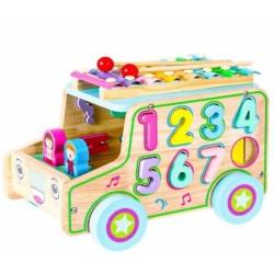 Eco Toys Dřevěné edukační auto s xylofonem