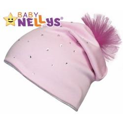 Bavlněná čepička Tutu květinka s kamínky Baby Nellys ® - sv. růžová