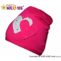 Bavlněná čepička Srdíčka - sytě růžová